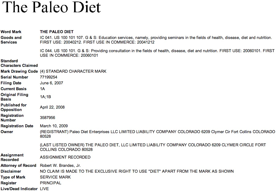 The Paleo Diet Trademark
