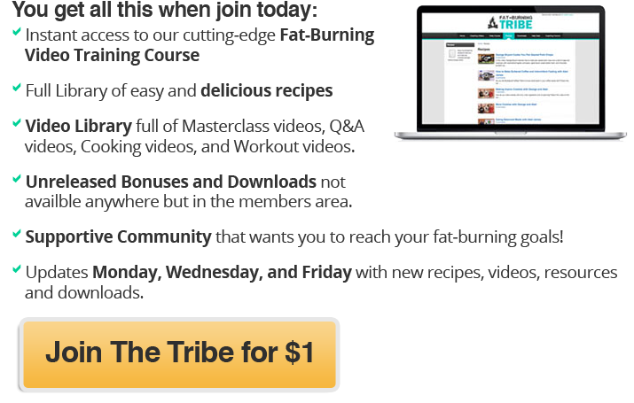 Join the Fat-Burning Tribe for $1 get fat-loss, muscle building secrets, video courses, recipes, questions answered, online coaching, private community