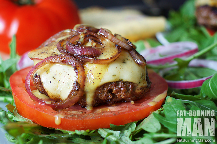 Maple Bacon Duck Burgers with caramelized onion, papper jack cheese, and a tomato bun: http://bit.ly/1Li5QRR