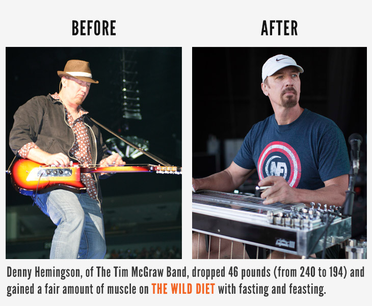 Denny Hemingson of the Tim McGraw Band dropped 46 pounds (from 240 to 194) and gained a fair amount of muscle on The Wild Diet while fasting and feasting. Learn how to lose weight with my 30-Day Fat Loss System: http://fatburningman.com/30days