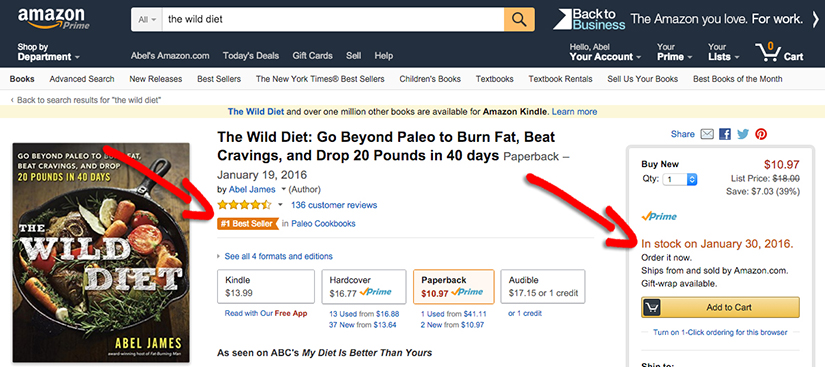 When Kurt dropped 50 pounds in 6 weeks on My Diet Is Better Than Yours, The Wild Diet hit the #1 Best Sellers list and sold out again on Amazon and most book stores: http://amzn.to/1KBdPdl