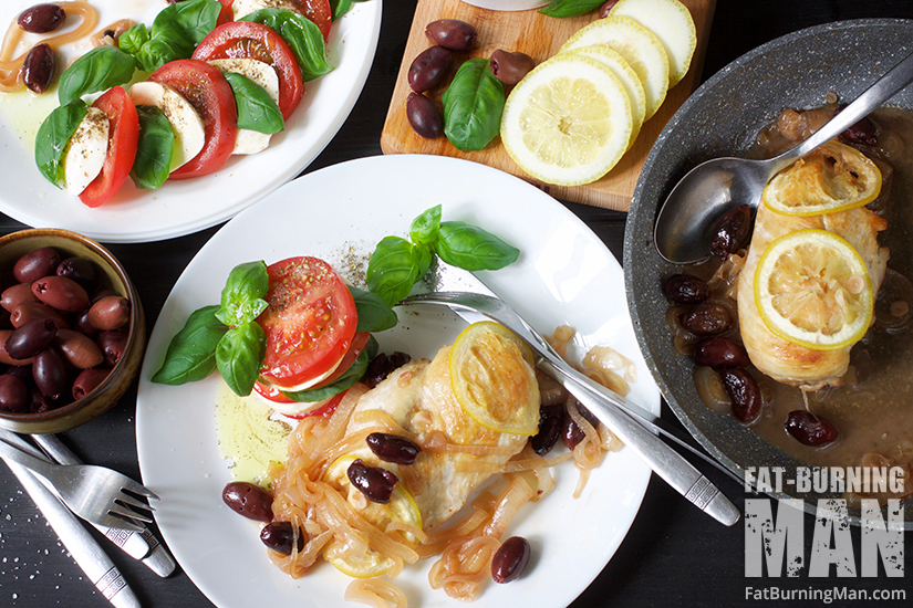 Get the recipe for this Kalamata Lemon Chicken with Caprese Salad: http://bit.ly/kalachikn